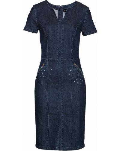 Джинсовое платье облегающее с карманами Bonprix