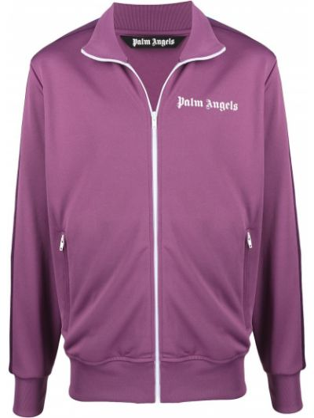Fioletowa długa kurtka w paski z długimi rękawami Palm Angels