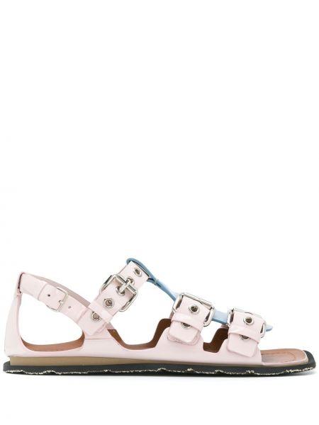 Klasyczne różowe sandały skorzane Miu Miu