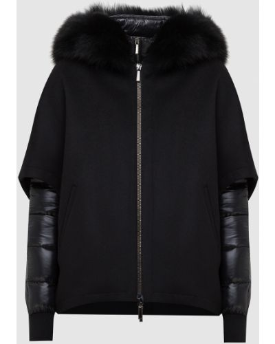 Черная куртка с мехом Moorer