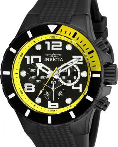 Черные со стрелками силиконовые часы водонепроницаемые Invicta
