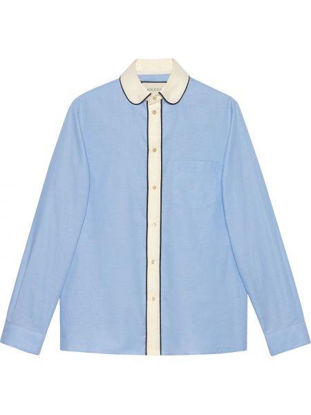 Bielizna niebieski koszula oxford z mankietami z kieszeniami Gucci