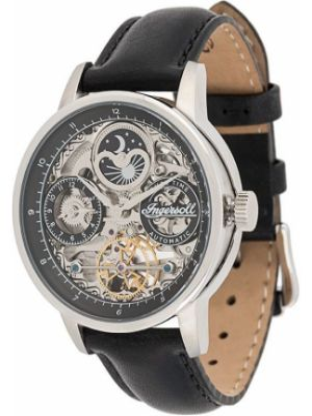 Czarny zegarek na skórzanym pasku skórzany klamry Ingersoll Watches