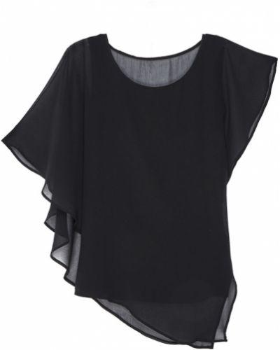 С рукавами черная блузка с декольте Adolfo Dominguez