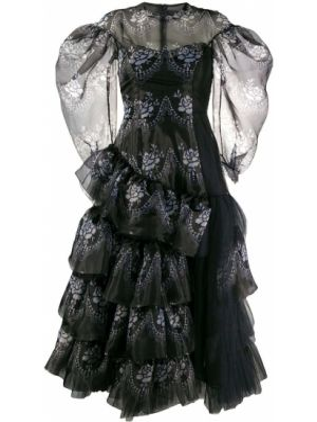 Платье миди с цветочным принтом с рукавами Simone Rocha