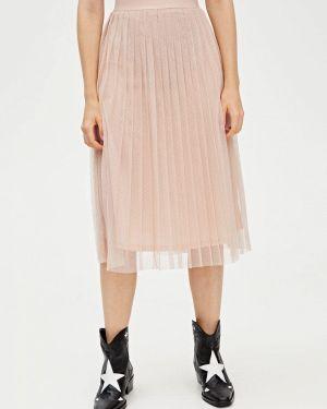 Плиссированная юбка розовая Pull&bear