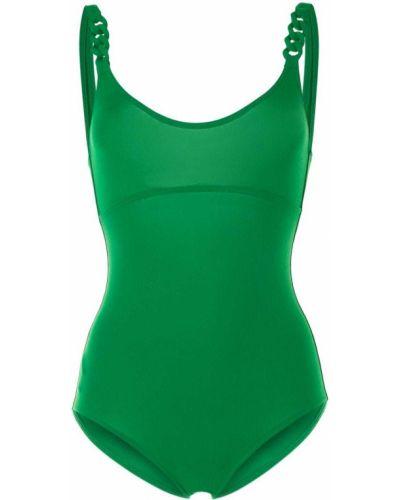 Зеленый открытый слитный купальник с вырезом с драпировкой Eres