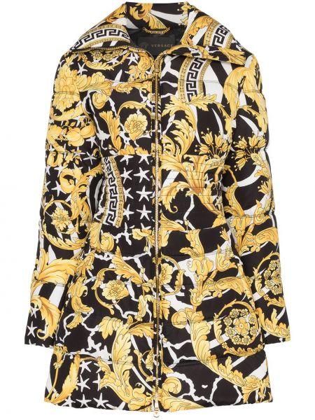 Длинное пальто с капюшоном с воротником на молнии Versace