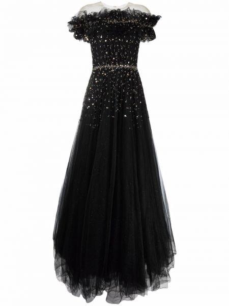 Черное вечернее платье из фатина Jenny Packham