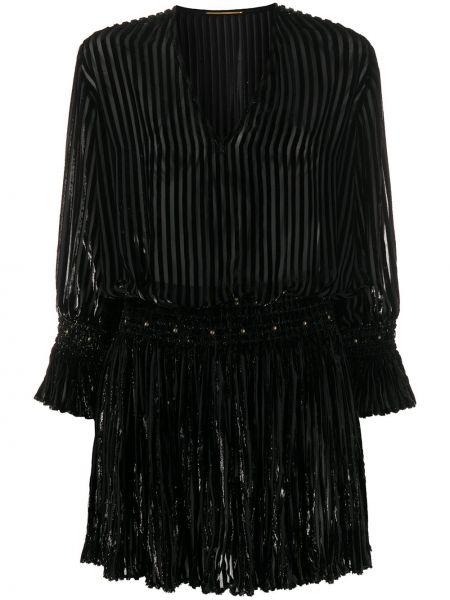 Платье мини с завышенной талией с V-образным вырезом Saint Laurent