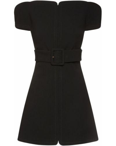 Шерстяное платье мини - черное Versace