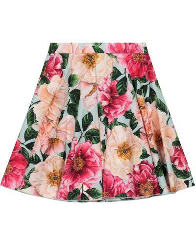 Różowa spódnica mini bawełniana Dolce & Gabbana Kids