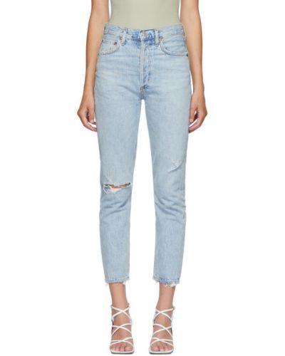 Z wysokim stanem niebieski mało jeansy z kieszeniami Agolde
