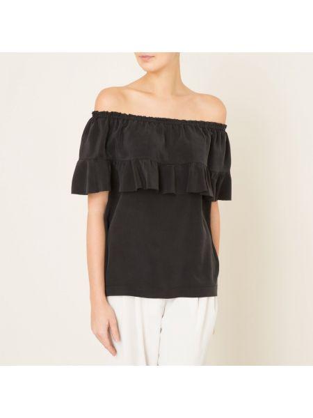 Блузка с открытыми плечами с оборками на резинке свободного кроя с вырезом Toupy