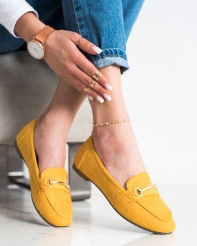 Żółte mokasyny skorzane eleganckie Anesia Paris