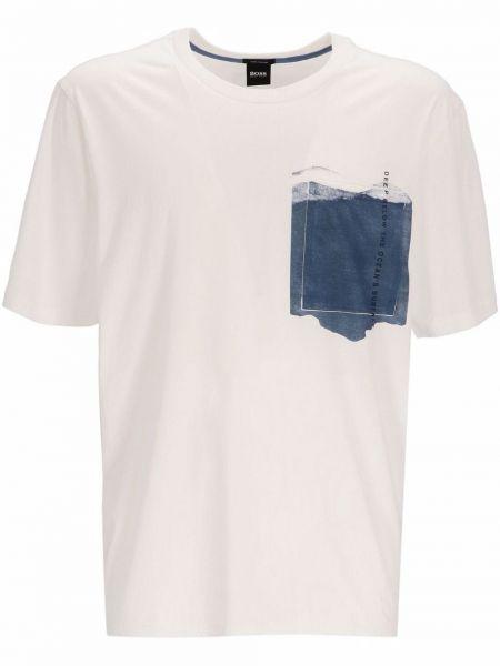 Biała t-shirt krótki rękaw Boss Hugo Boss