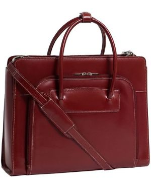Czerwona klasyczna torba podróżna skórzana Mcklein