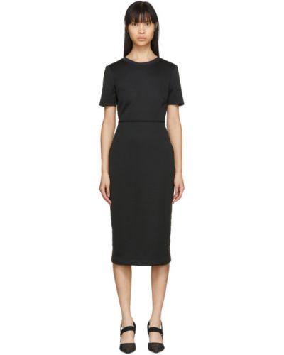 Трикотажное черное платье с воротником Fendi