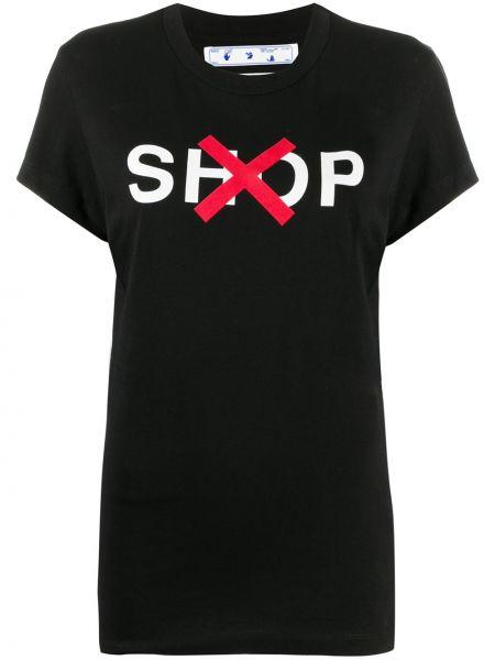 Bawełna czarny prosto koszula z krótkim rękawem okrągły dekolt Off-white