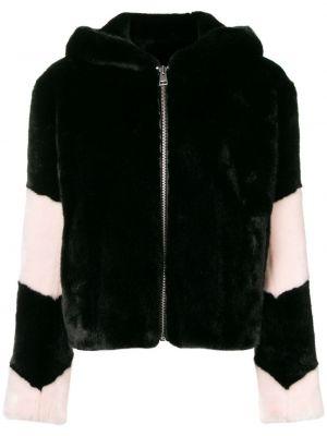 Прямая черная куртка с капюшоном из искусственного меха для полных La Seine & Moi