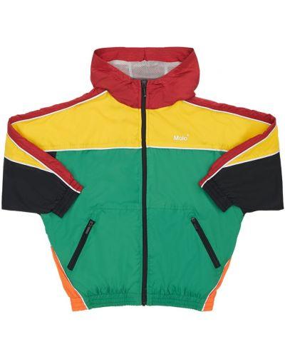 Zielona kurtka z kapturem z nylonu Molo