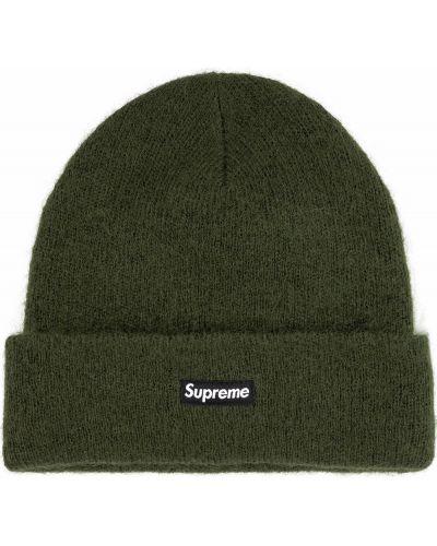 Zielona czapka moherowa Supreme