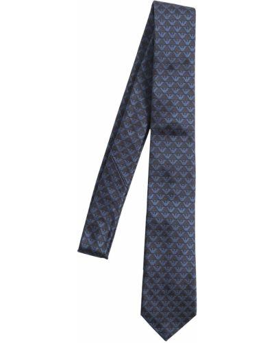 Niebieski krawat z jedwabiu Emporio Armani