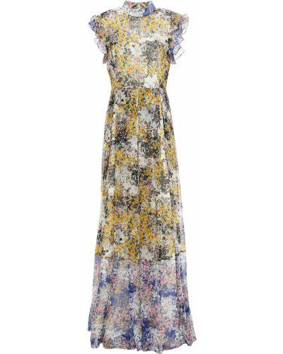 Платье макси айвори с принтом на крючках Mikael Aghal