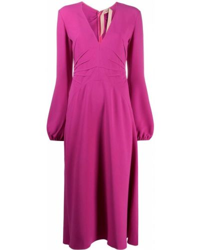 Розовое расклешенное платье миди с V-образным вырезом из вискозы N°21