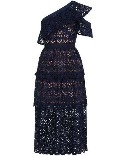 Платье миди приталенное с оборками Self-portrait