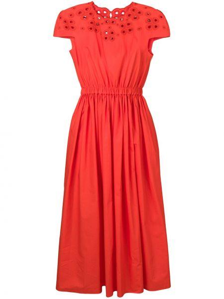 Оранжевое шелковое платье мини с поясом Fendi