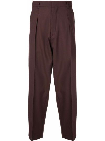 Красные деловые прямые брюки с поясом новогодние Second/layer