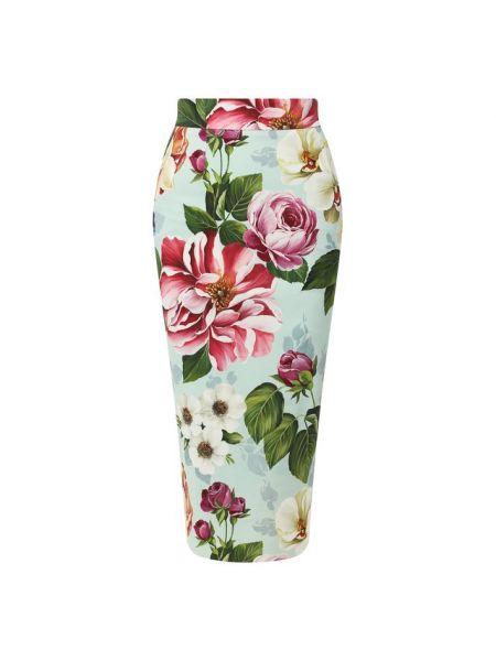 Шелковая синяя юбка карандаш с рукавом 3/4 с подкладкой Dolce & Gabbana