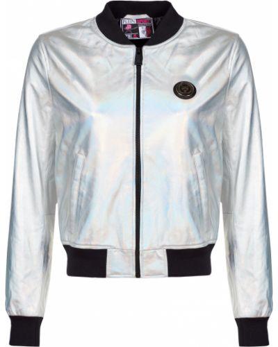 Кожаная куртка из полиэстера - серебряная Plein Sport