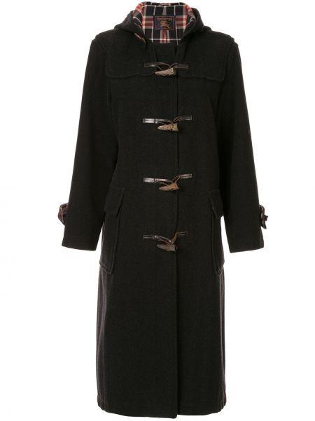 Шерстяное пальто с капюшоном айвори на пуговицах винтажное Burberry Pre-owned