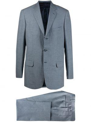 Синий шерстяной костюм в клетку Brioni