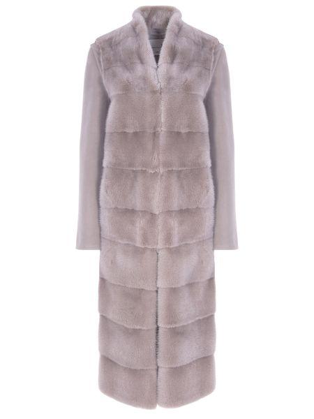 Свободное шерстяное серое пальто классическое с воротником Manzoni 24