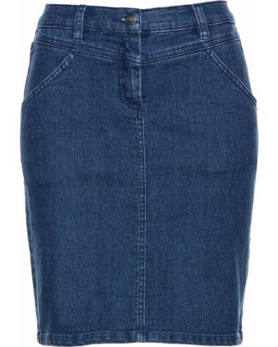 Синяя джинсовая юбка с кокеткой с карманами Bonprix