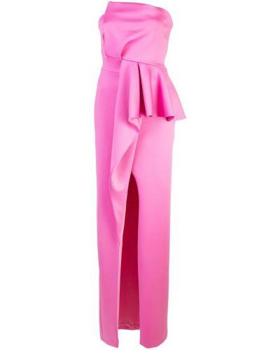 Розовое приталенное платье макси с баской с вырезом Black Halo