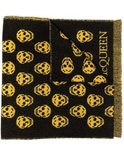 Żółty szalik wełniany z frędzlami Alexander Mcqueen