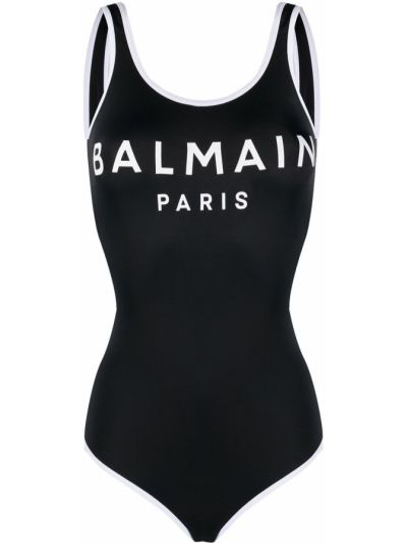 Czarny strój kąpielowy okrągły rozciągać bez rękawów Balmain