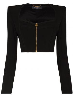 Черный пиджак на молнии Versace