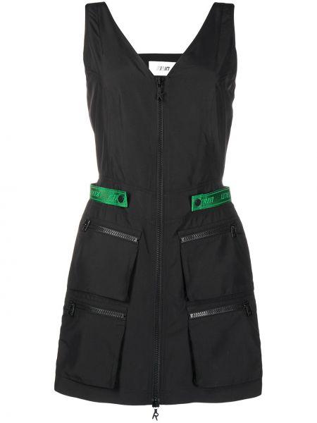 Czarna sukienka mini bez rękawów z dekoltem w serek Kirin