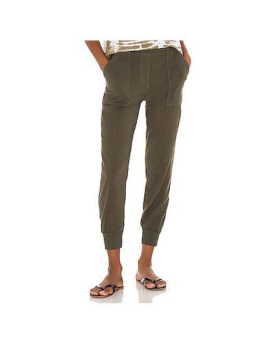 Оливковые брюки с карманами из вискозы Monrow