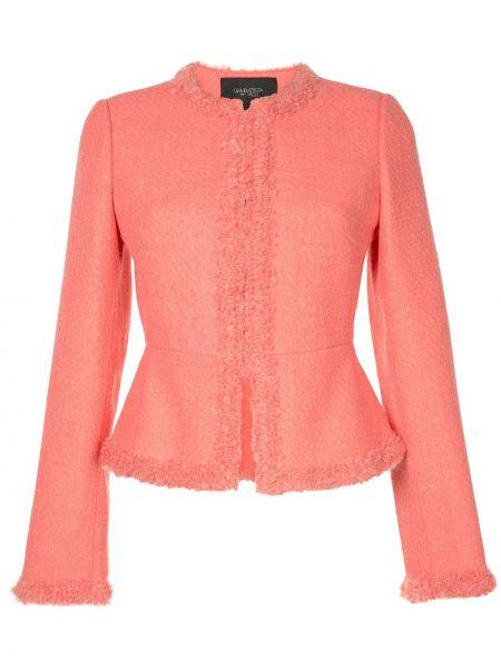 Розовый удлиненный пиджак твидовый с баской Giambattista Valli