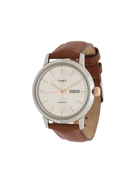 Zegarek na skórzanym pasku - szary Timex