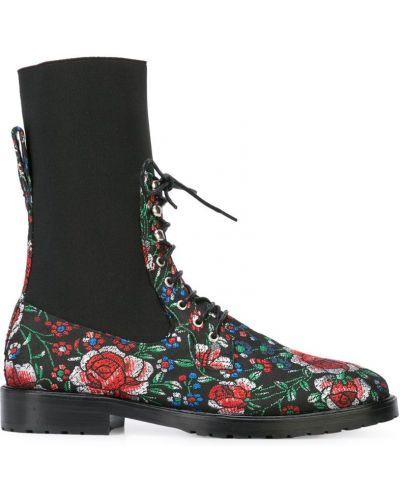 Черные кожаные сапоги на шнуровке Leandra Medine
