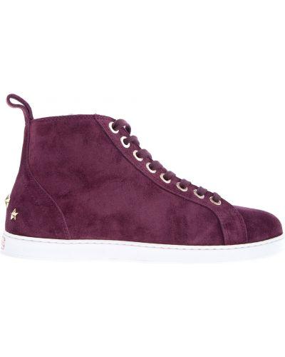 Высокие кроссовки с мехом на шнуровке Jimmy Choo