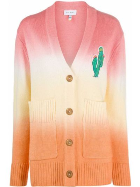 Акриловый розовый вязаный кардиган оверсайз с вышивкой Mira Mikati