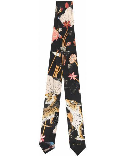Шелковый черный галстук в цветочный принт Etro